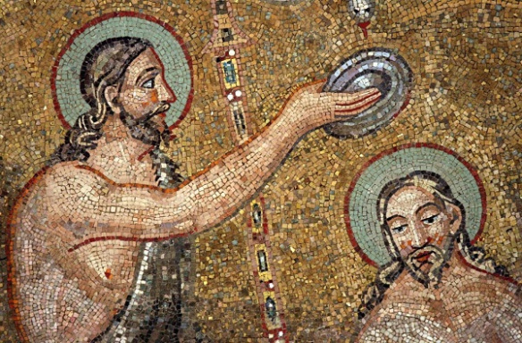 Baptism of Christ by John the Baptist in the Jordan River (mosaic) - Ravenna, Italy